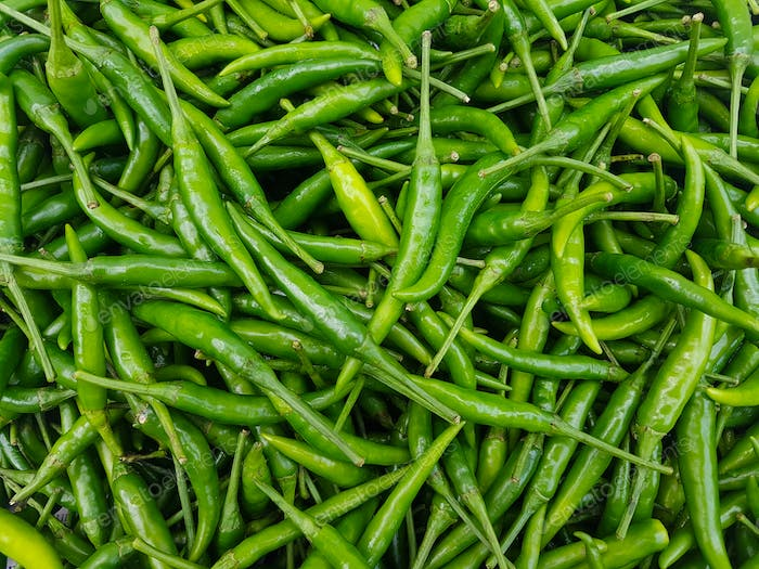 Full Frame Shot Of Green Chilies