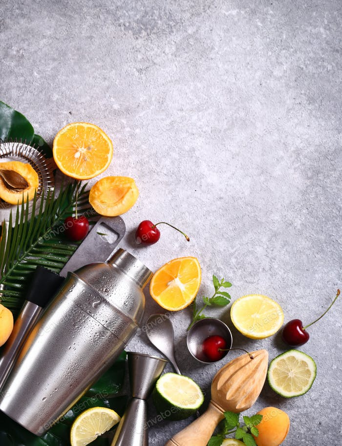 Cocktail Shaker and Fruits