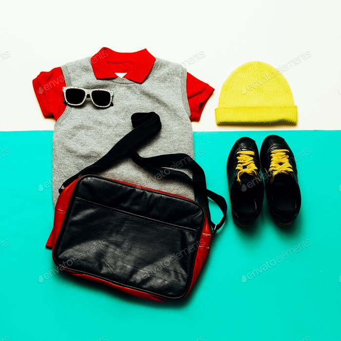 Jeans, shirt and sneakers. Cap. Urban sports style fashion acces