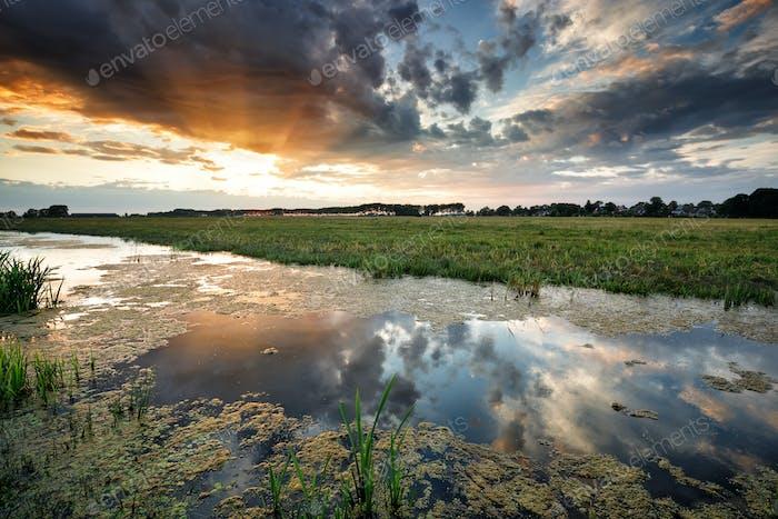 hermosos rayos de sol al atardecer sobre estanque