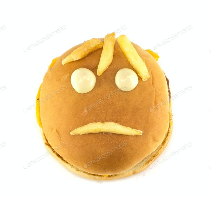 Sad smiley hamburger