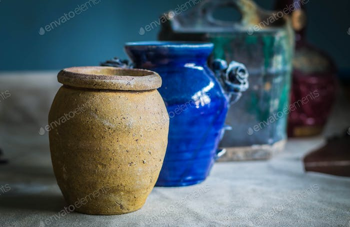 Ceramic jars on the table