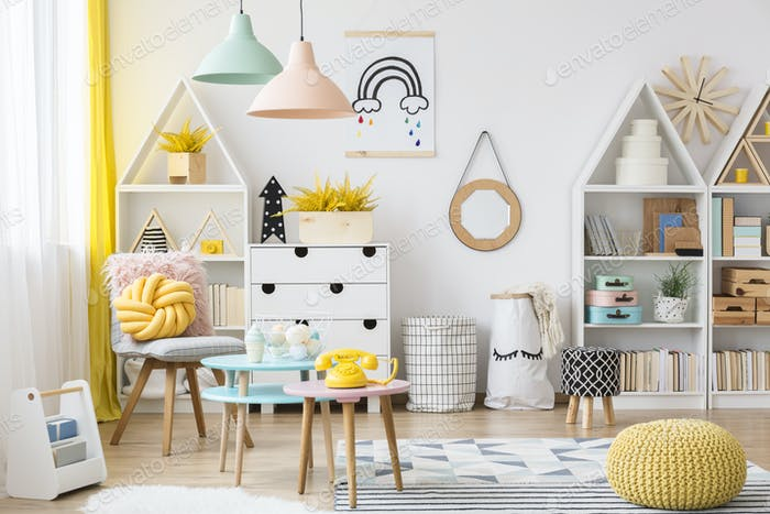 Pastel kid's playroom interior