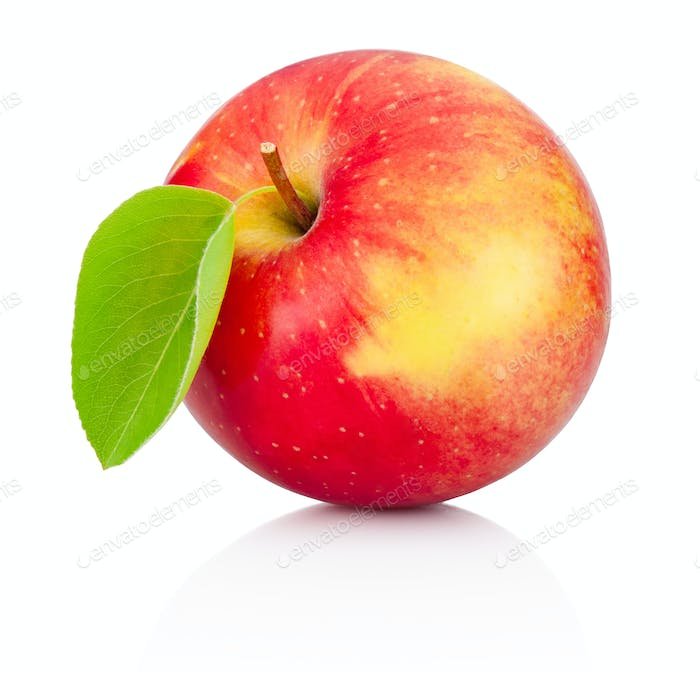 Red apple with leaf isolated on a white background