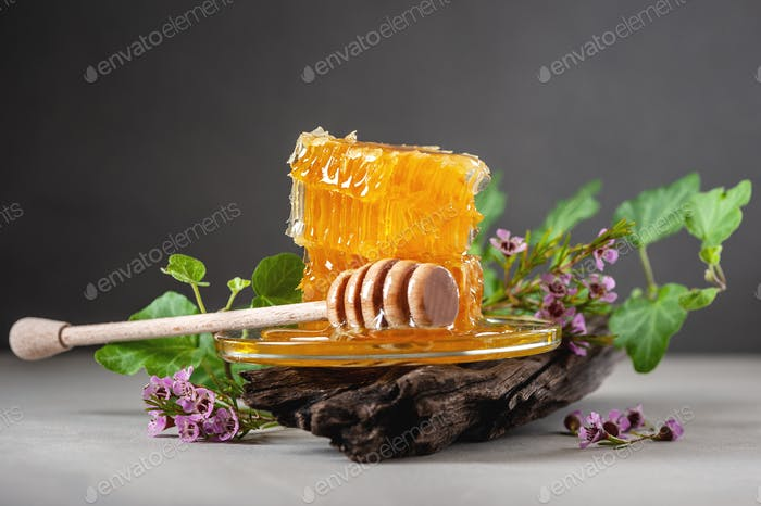 Honeycombs, flowers and a wooden spoon on a concrete table.
