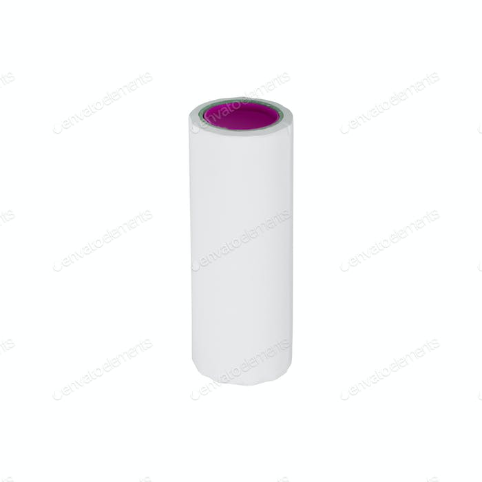 Adhesive roller for cleaning clothes from animal fur and hair isolated on white