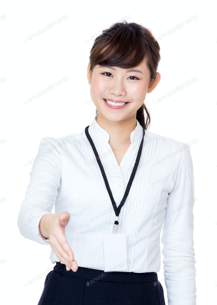 Asia businesswoman give hand
