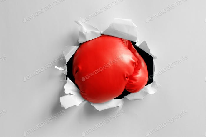 Boxing glove knockout punch