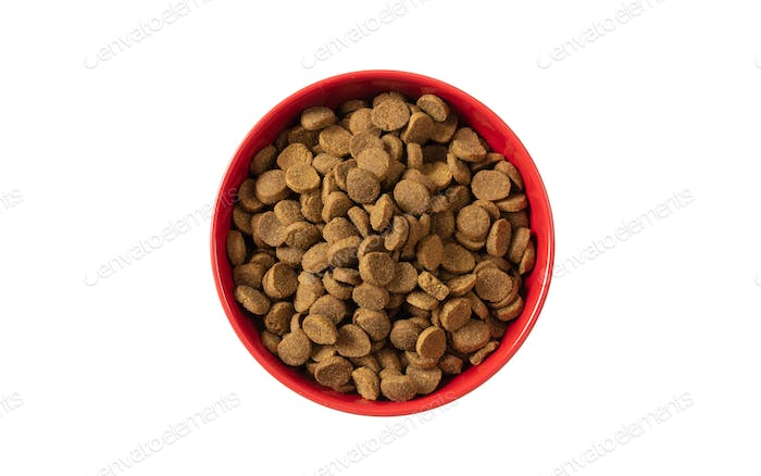 Dogs or cats dry food in a red bowl isolated on white background, top view
