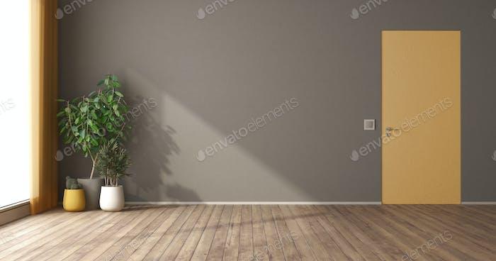 Empty room with flush wall door