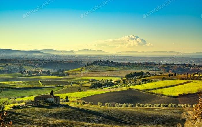 Maremma, rural sunrise landscape. Countryside old farm and green