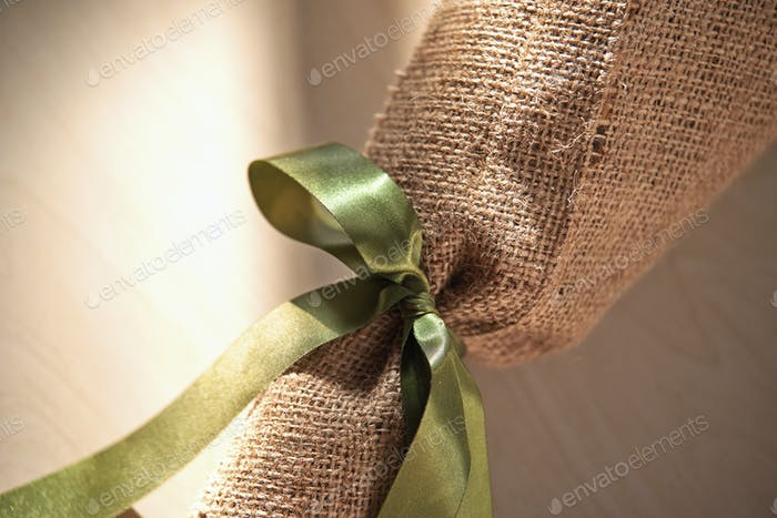 Eco-friendly gift wrap with ribbon