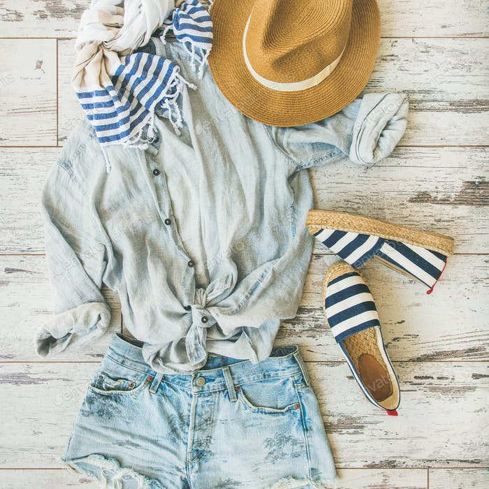 Summer outfit flatlay, parquet background, top view, square crop