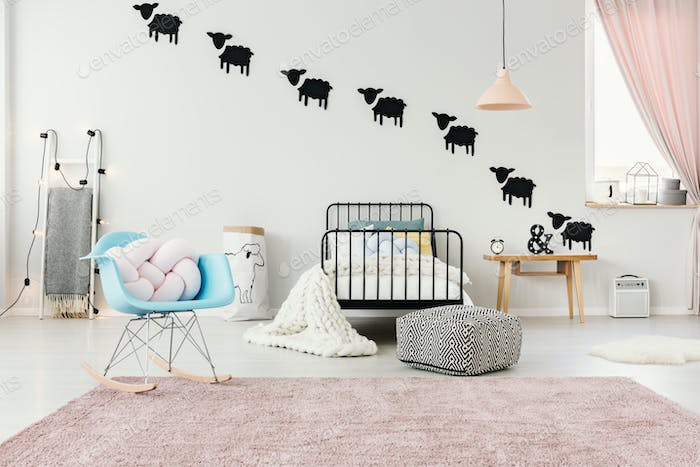 Pink and blue child's bedroom