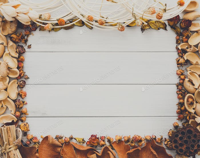 Fall decoration handmade frame on white wood background copy space