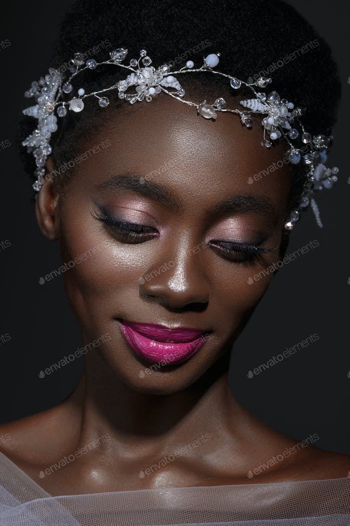 Beautiful black girl with crystal wreath