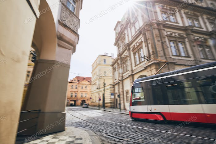 Tram in blurred motion