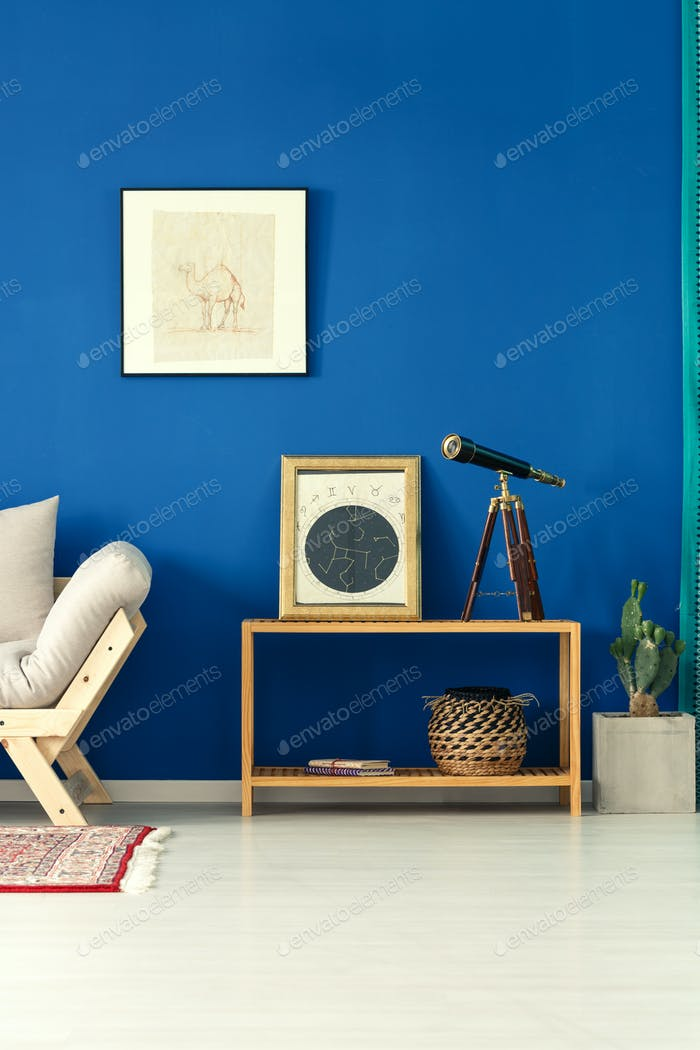 Simple room with blue wall