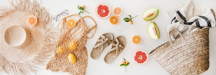 Summer mood layout with feminine accessories and fruits, top view