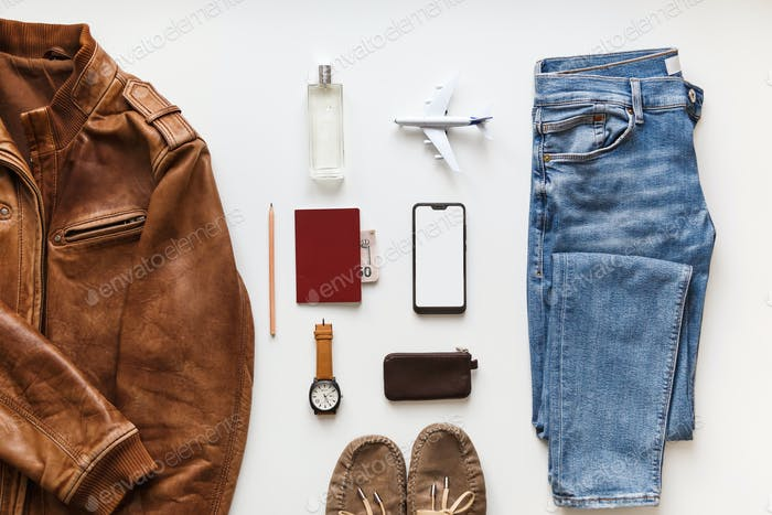 Casual male flat lay hipster summer fashion set of accessories and clothes on white