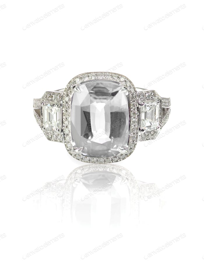 Diamond solitaire engagement emerald cut wedding ring