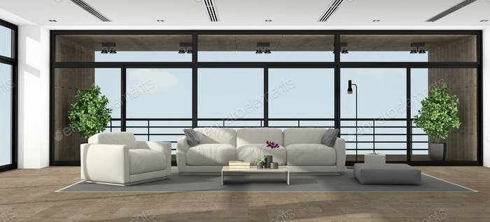 Large minimalist living room