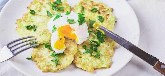 Zucchini pancakes poached egg