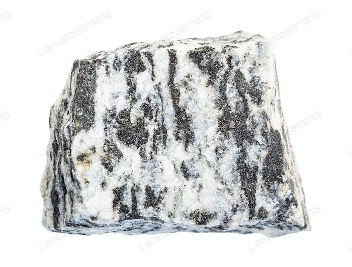unpolished Migmatite rock isolated on white