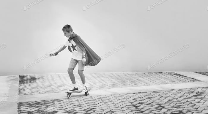 Superhero Boy Imagination Freedom Skateboard Concept