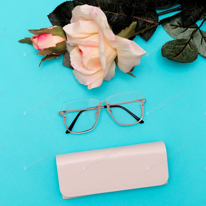Fashion Glasses  Stylish accessories for women. Flat lay minimal