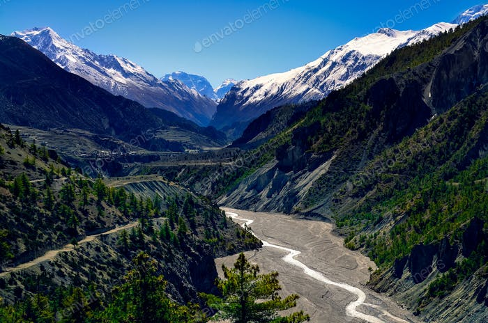 Himalayas mountain river valley with peaks in background