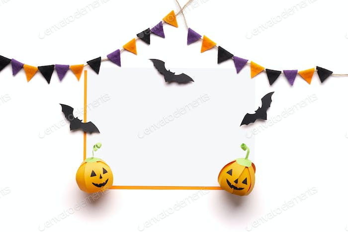 Halloween handmade decorations for party with copy space
