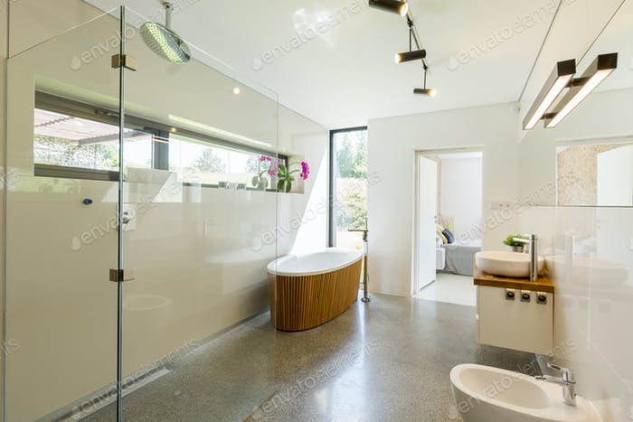 Spacious eco-friendly bathroom