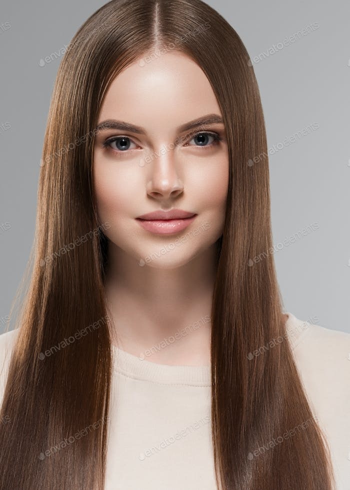 Long hair beautiful face woman cosmetic portrait