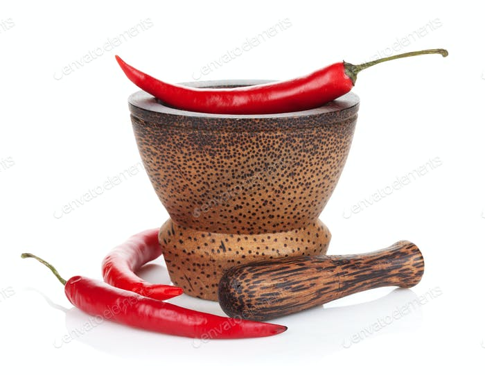 Mortar and pestle with red hot chili pepper