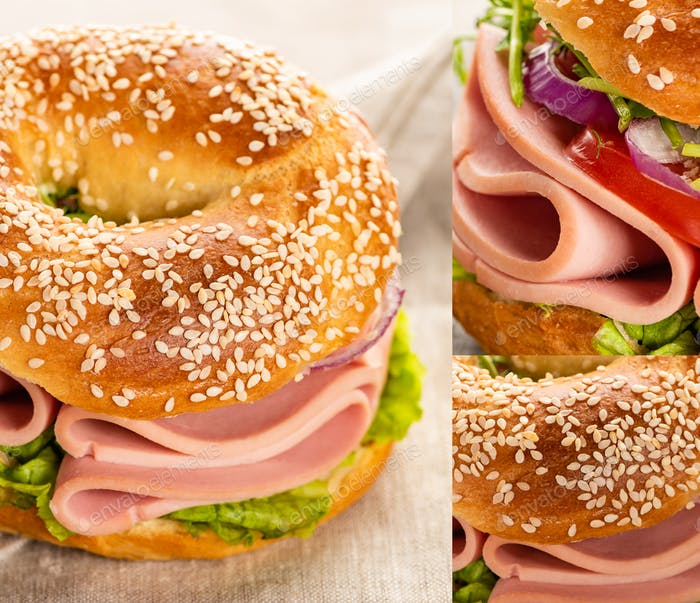 Collage of Fresh Delicious Bagel With Sausage And Vegetables