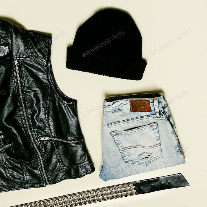 Black fashion set. Black Vest and black accessories. Beanie Urba