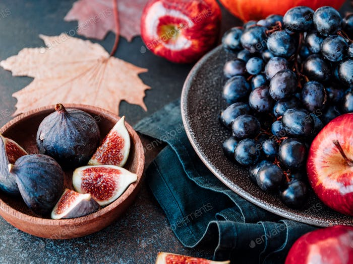Autumn food flat lay with season fruits and vegetables