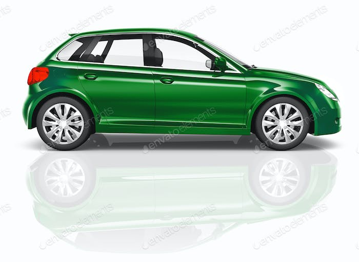 Green 3D Hatchback Car Illustration