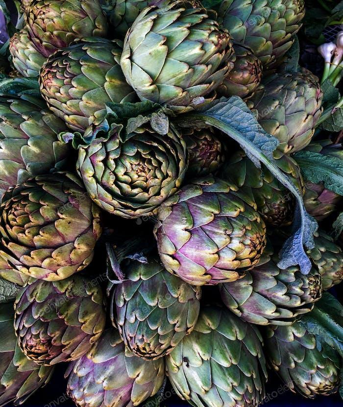 Artichokes on farmers market in the south of Mediterranean