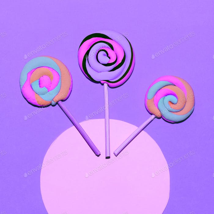 Marshmallow Lollipop. Minimal. Candy colorful mood Flatlay