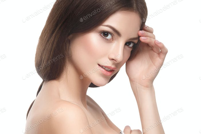 Beautiful brunette healthy skin woman
