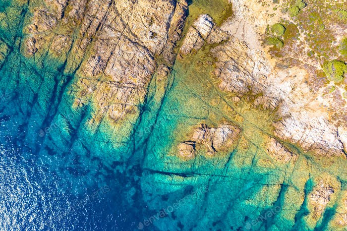 Top down view of Corsican rocky coast