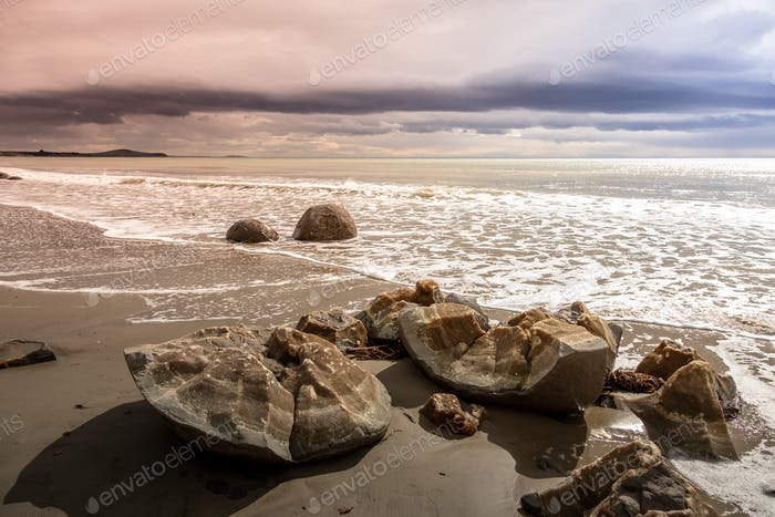 boulders at the beach of Moeraki New Zealand