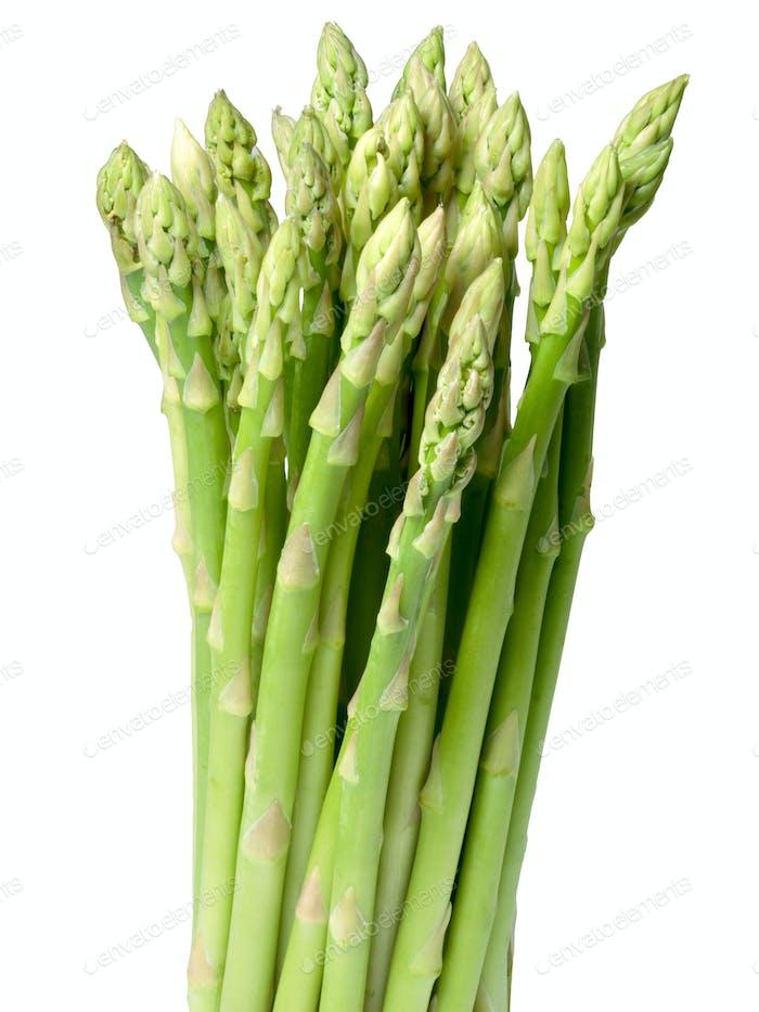 Bundle of green asparagus, path