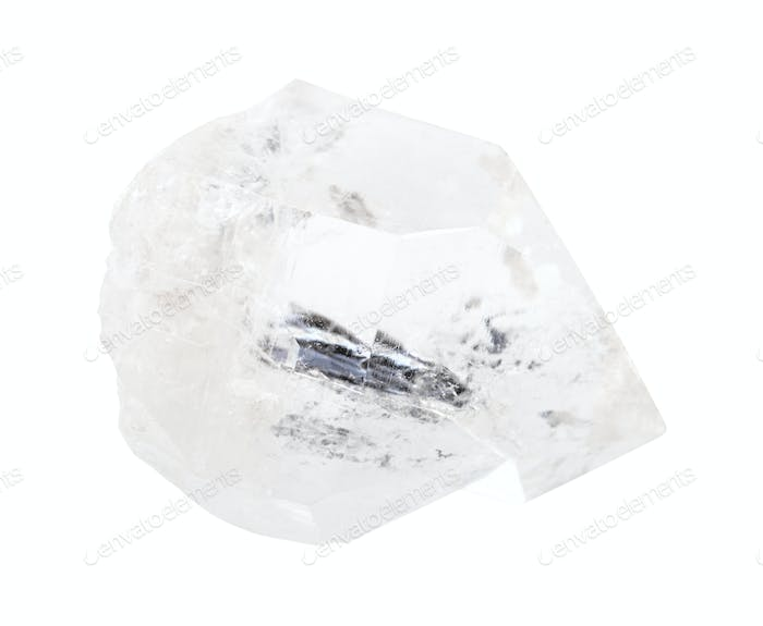 one Rock crystal (colorless Quartz) isolated on white