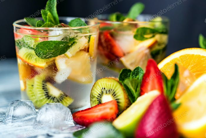 Homemade lemonade with fruit and mint