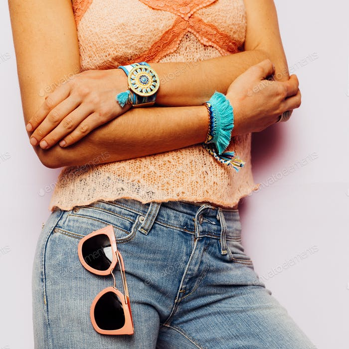 Model Country Style fashion accessories. Summer. Classic jeans a