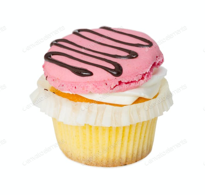 Cupcake with vanilla cream and strawberry macaroon isolated on w