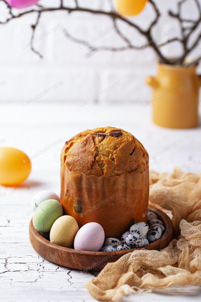 Italian Easter cake panettone or Russian kulich